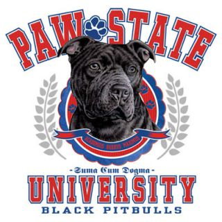 Black Pitbull Dog Paw University White Sweatshirt sweat Shirt All