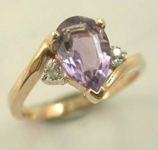 Estate 10KT Yellow Gold Amethyst Diamond Ring
