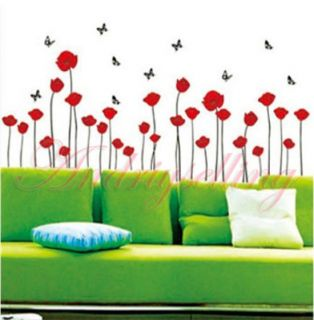 60cm 33cm Red Poppy Flowers 5 Butterfly Art Vinyl Wall Sticker Decor