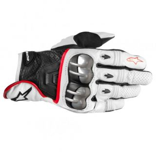 Octane s Moto Leather Motorcycle Race Gloves White Black Red