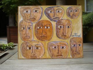 American Folk Art painting FACES Visionary Leon Kennedy Born Houston