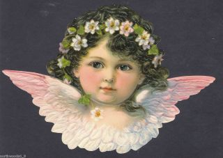 Cherub Angel Bust Pink Feathers Wings Head Face Embossed German Paper
