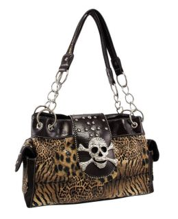Animal Print Studded Rhinestone Skull Purse Chrome Studs