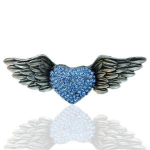 Vintage Style Angel Wing Heart Brooch Pin Blue Swarovski Crystal Love