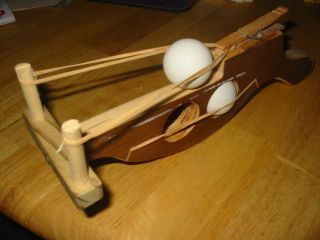 Wooden Hand Made Ping Pong Ball Launcher rubber band powered