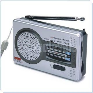 Portable Mini AM FM Broadcasting Pocket Radio 2 Band Receiver DC 3V