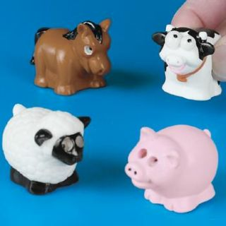 12 Popping Eye Farm Animals Squishy Party Favors Dozen Pig Cow Horse