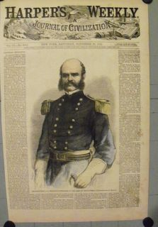 General Ambrose Burnside Army Potomac 1862 Hand Colored Engraving
