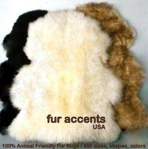 White Sheepskin Accent Rug Faux Fur Bear Pelt Area Throw Bed Bath