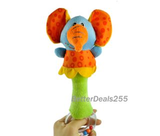B20E New Lovely Soft Hand Bells Animal Model Long Handbell