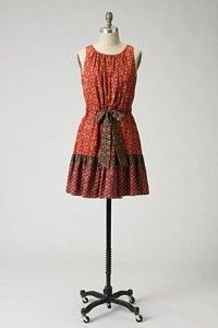 Anthropologie Silk Fiery Tiers Dress Anna Sui Silk 0 Extra Small XS
