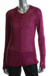 Anne Klein Purple Sequined Long Sleeve Button Down Cardigan Sweater
