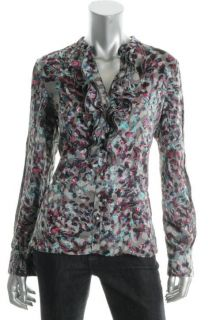 Anne Klein New Gray Printed Ruffled Long Sleeve Button Up Blouse Top L