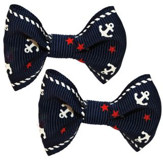 Navy Anchor Hair Clips Barrettes Bows Rockabilly Pin Up Retro Nautical
