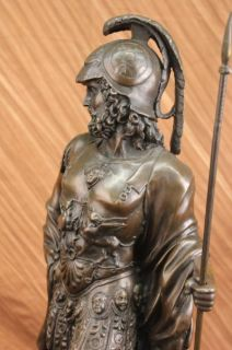 Signed Very Tall Greek Warrior Bronze Sculpture Statue Marble Base