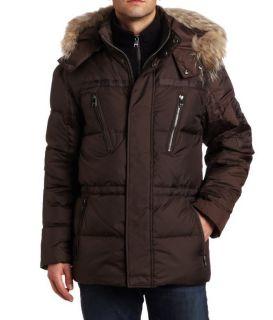 Andrew Marc Mens Hudson Down Parka Fur Trim Brown Coat Large Retail $