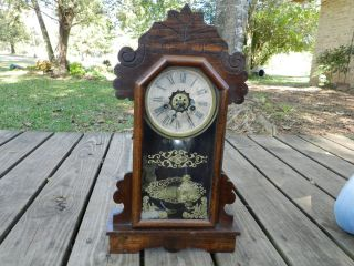 Antique Ansonia Clock Co shelf mantel key wind 1800s alarm clock