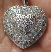 Diamonique Sterling Silver Puffy Heart Locket Pendant Necklace