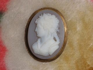 9ct Gold Hardstone Cameo Brooch Pin Large Hard Stone Vintage
