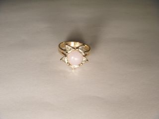 Fabulous Antique Estate 14K Yellow Gold Trillion Diamond Moonstone