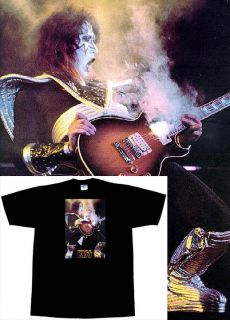 HOT NEW T SHIRT KISS ACE FREHLEY SMOKING GUITAR PICK SIZE YOUTH S   L