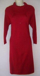 Antonio Melani McKenna Red Draped 100% Merino Wool Sweater Dress L 14