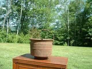 Antique Cast Iron Kettle Cauldron Pot with Wooden Handle