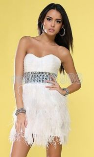 New Sexy Evening Cocktail Dress Fashion Mini length ostrich feather