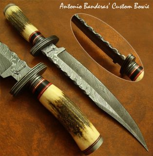 Antonio Banderas MASSIVE 1 OF A KIND CUSTOM DAMASCUS BOWIE KNIFE STAG
