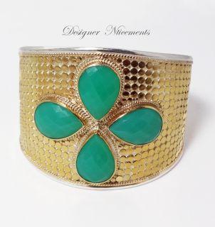 New Anna Beck Gili Clover Cuff LG Bracelet Chrysoprase 18K Plate