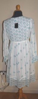 Anna Sui White Aqua 100 Silk Dress UK 10 12 US L