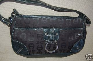 Etienne Aigner Black Logo Fabric Genuine Leather Satchel Handbag Bag