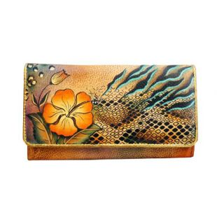 Anuschka Genuine Leather Accordion Flap Wallet Hand Painted Python