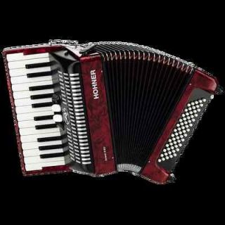 NEW HOHNER BR60 BROVO II PIANO 60 BASS ACCORDION IN RED WITH BAG