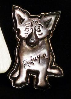 rodrigue blue dog pin sterling silver and 14kt gold time