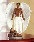MALE GUARDIAN ANGEL FIGURINE w CHILD Black Man African American w Baby