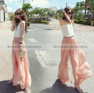 Women Fashion Sweet Chiffon High Waist Wide Leg Palazzo Pants Trousers