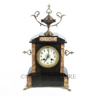 Antique Stone Marble Brass RA Pendulum Chiming Mantel Clock c1910