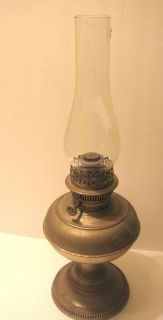 Antique Metal Rayo Oil Kerosene Lamp w Chimney