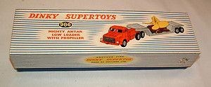 1950s DINKY MIGHTY ANTAR LOWBOY LOADER w PROPELLER BEAUTIFUL IN BOX