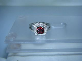 AUTHENTIC DAVID YURMAN ALBION STERLING SILVER 7MM GARNET DIAMOND RING
