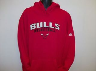 Chicago Bulls NBA Adidas Red Embroidered Hoodie Sweatshirt   Large