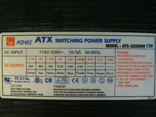 Aspire 500W Switching Power Supply 20 Pin ATX AS500W