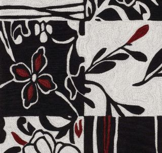 modern area rug contemporary carpet black white red 3 6 x 5 6 boxes