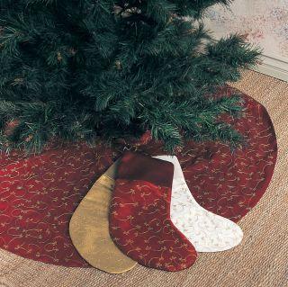 Ari Embroidery Elegant Burgundy Holiday Christmas Tree Skirt 52 Rd One