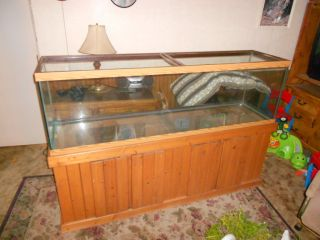 125 gallon aquarium fish tank and pine cabinet stand with storage