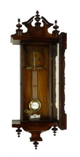 Antique German Wall Clock at 1900 R A Pendulum