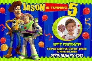 TOY STORY BIRTHDAY PARTY INVITATION PHOTO INVITE CUSTOM CUSTOM 1ST   1