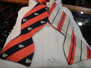 Edward Armah Silk Reversible Bow Tie Blue Orange Boat