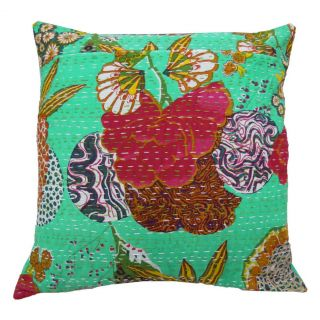 Quilted Cushion Cover Handmade Aqua Floral Print Pillow Case India 16